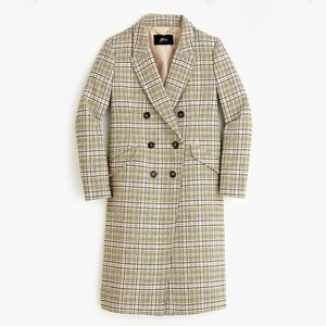 J.CREW LONG DOUBLE-BREASTED TOPCOAT IN PLAID. SIZE